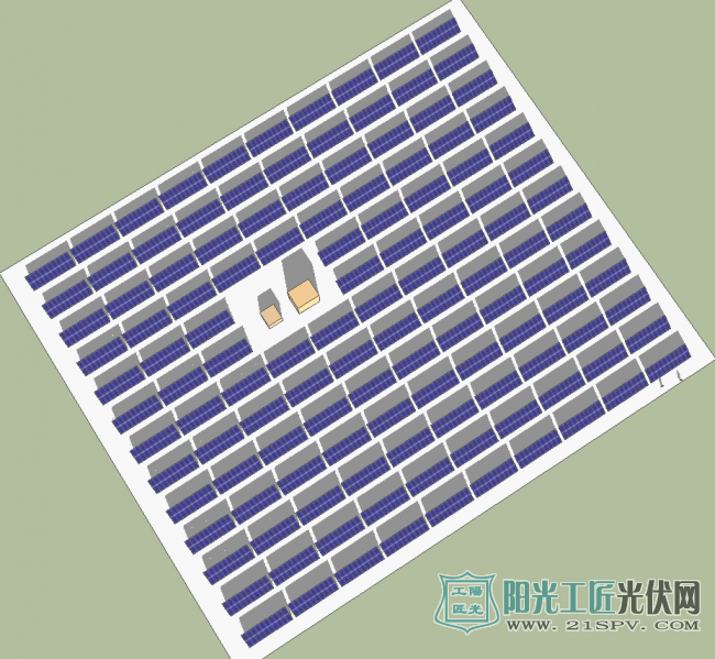 大型地面电站MW级光伏组件布置效果图(含支架)
